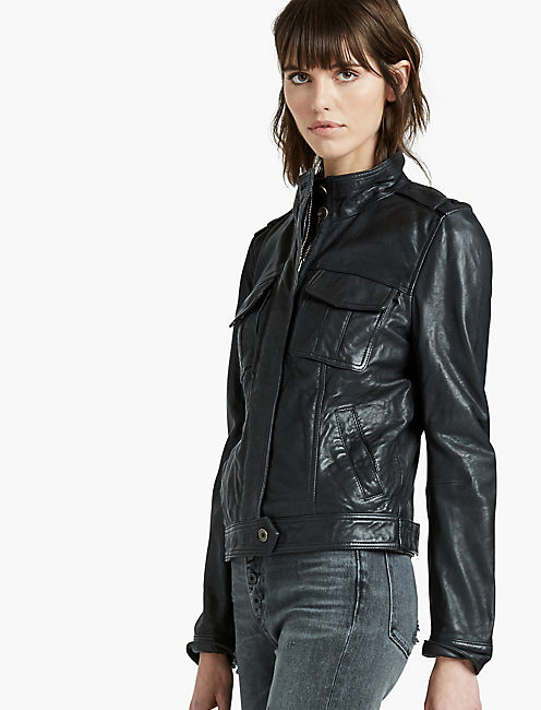 LEATHER PATCH POCKET JACKET, 001 LUCKY BLACK