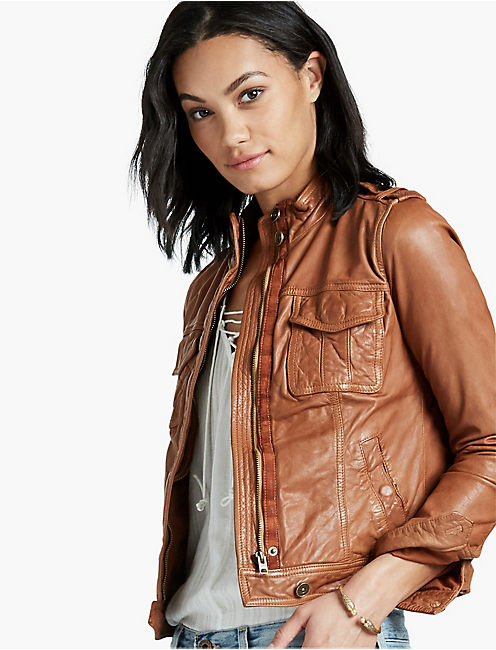 LEATHER PATCH POCKET JACKET, CAMEL