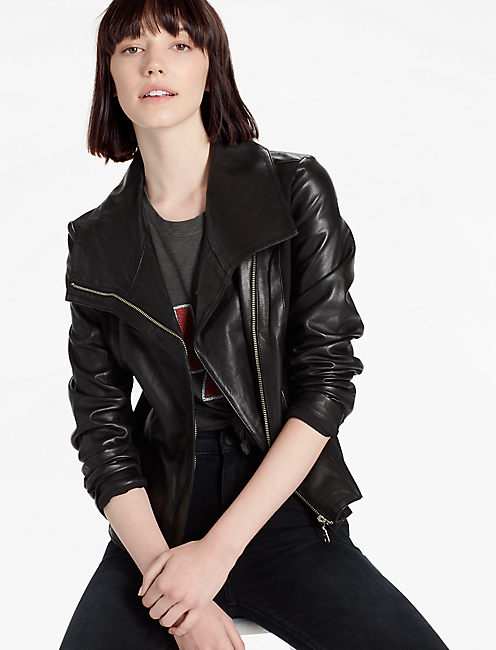 WATERFALL LEATHER JACKET, 001 LUCKY BLACK
