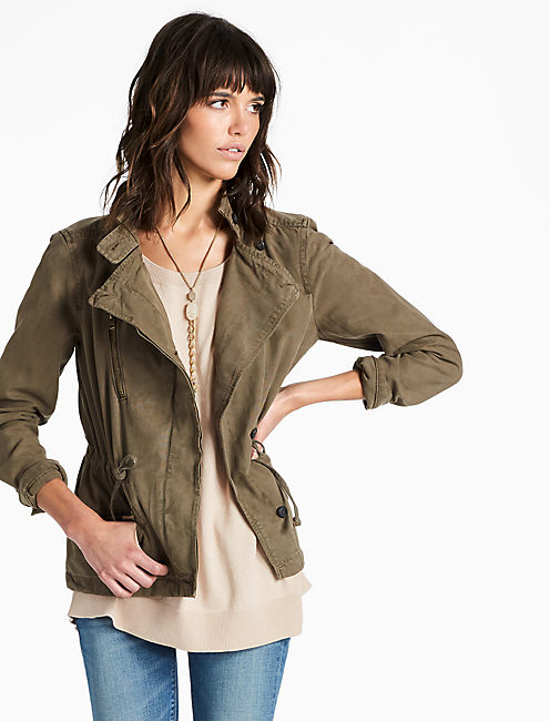 ASYMMETRICAL MILITARY JACKET, DARK SAGE