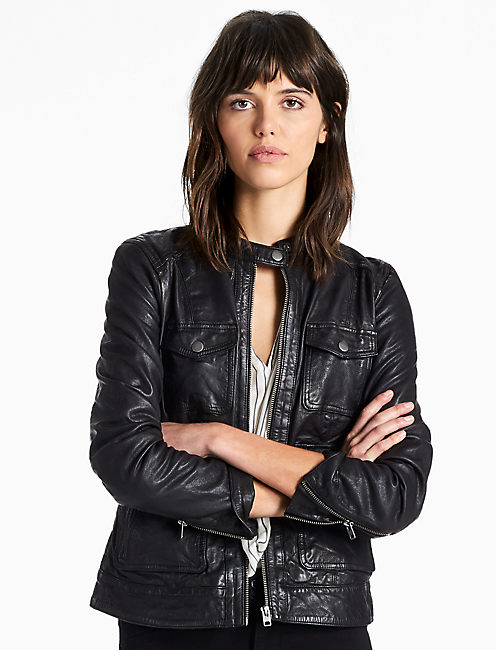FOUR POCKET LEATHER JACKET, 001 LUCKY BLACK