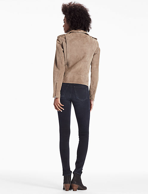 SUEDE MOTO, DEEP TAUPE