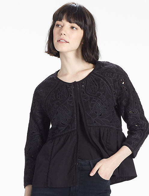 EMBROIDERED JACKET, 001 LUCKY BLACK