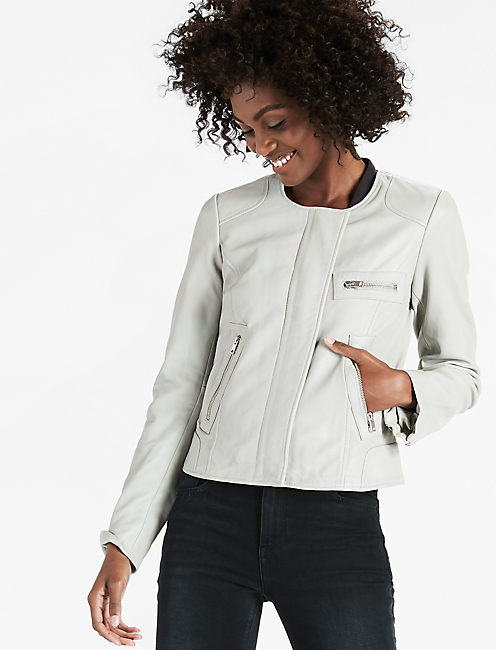 SOFT LEATHER JACKET, LIGHT GREY