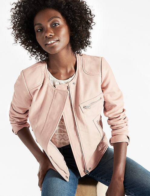 SOFT LEATHER JACKET, BLUSH