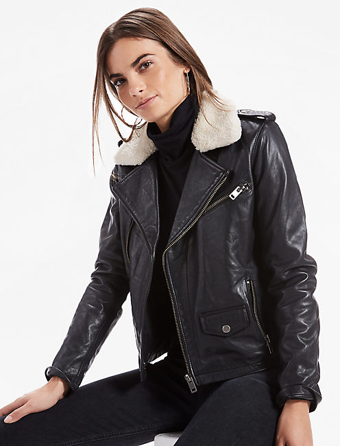 Sherpa Collar Leather Moto Jacket, 001 LUCKY BLACK