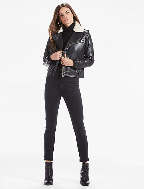 Sherpa Collar Leather Moto Jacket,