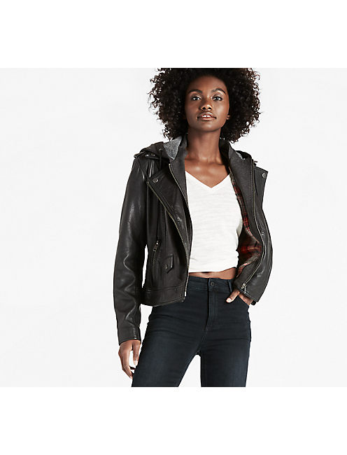 HOODED LEATHER MOTO, 001 LUCKY BLACK