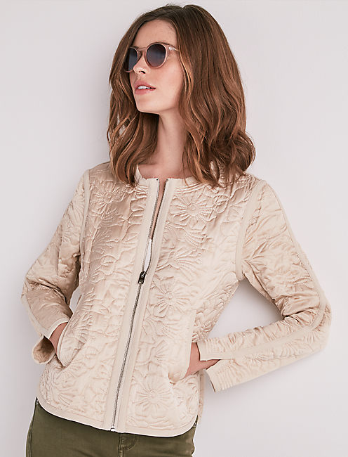 FLORAL QUILTED BOMBER JACKET,