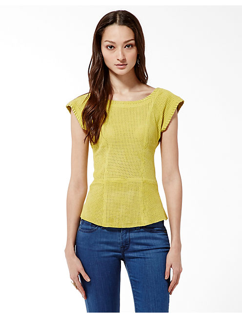 PERFORATED SUEDE TEE, SPRING CITRUS #7332