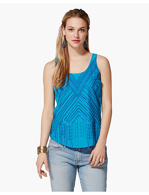 PRESLEY EMBROIDERED TANK, BLUE MULTI