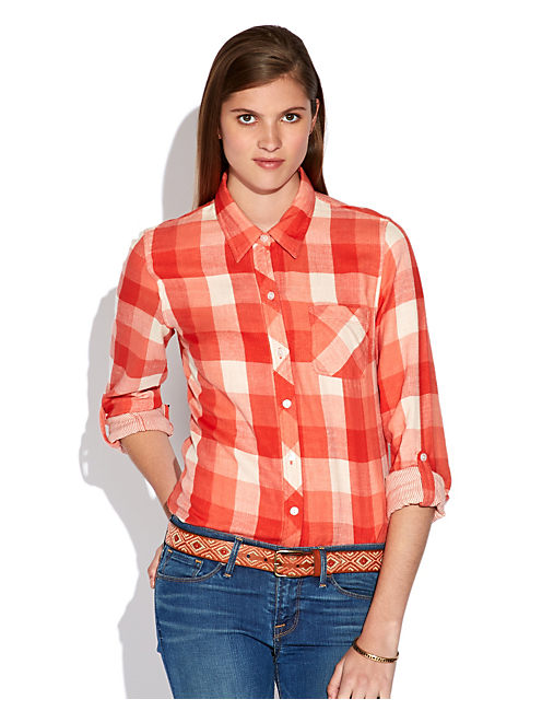 STRIPE PLAID SHIRT, RED MULTI