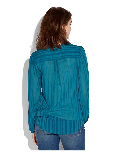 SHADOW STRIPE POPOVER, #40070 OCEAN DEPTHS