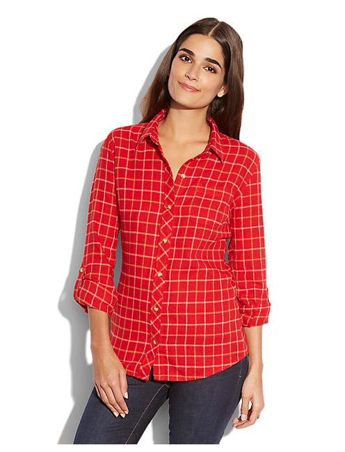 DOTTIE RED FLANNEL, RED MULTI