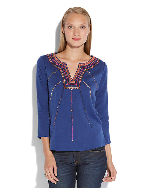 SODALITE EMBROIDERED TOP, BLUE MULTI