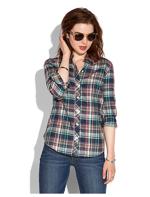 BLUE PLAID TOP, NAVY MULTI