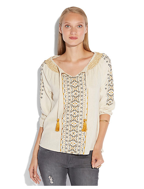 ANTIQUE EMBROIDERED TUNIC, NATURAL MULTI