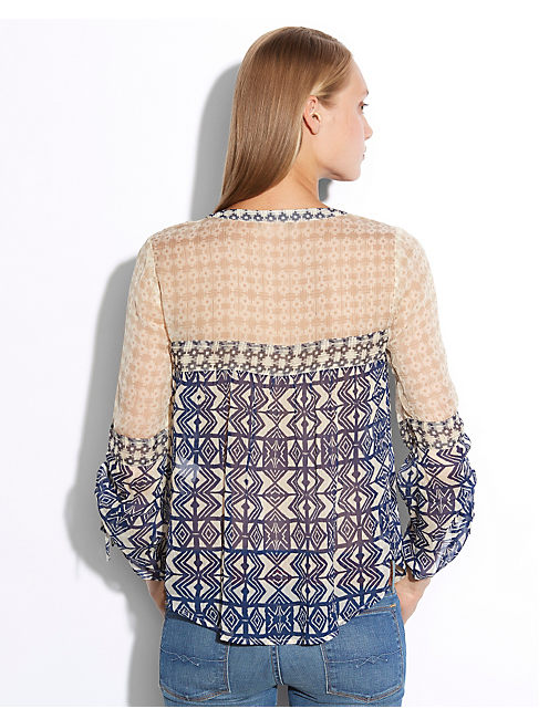 TRIBAL MIXEDPRINT PEASANT, BLUE MULTI