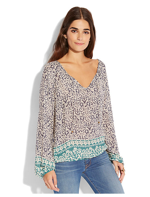 TAHLA BORDER PRINT TOP, NAVY MULTI