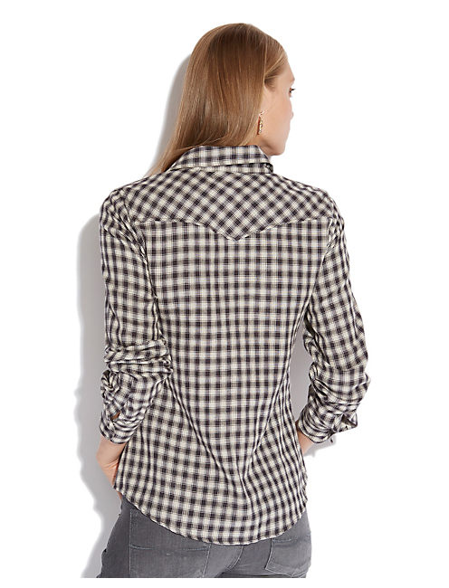 DIXIE GINGHAM WESTERN, BLACK MULTI