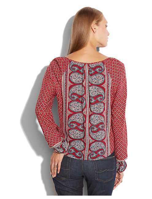 KAT MIXED PRINT TOP, RED MULTI
