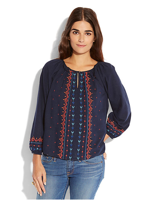 EMBROIDERED  GEO PEASANT, NAVY MULTI