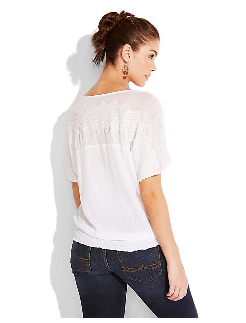 MIXED LACE BOHO TOP, LUCKY WHITE