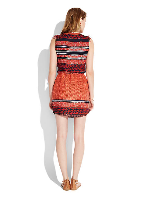 MANDARIN TIE DRESS, ORANGE MULTI