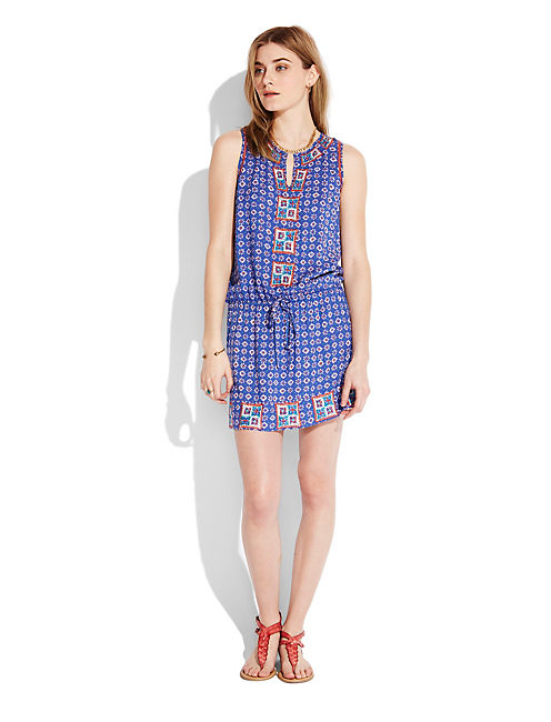 DROP WAIST DRESS, BLUE MULTI