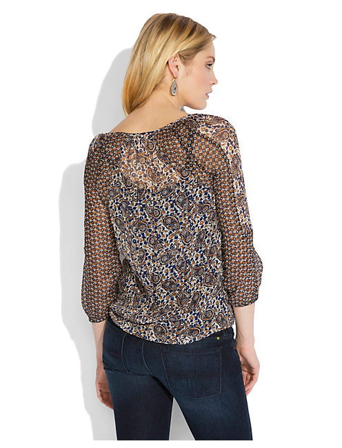 TIE FRONT PAISLEY TOP, BLUE MULTI