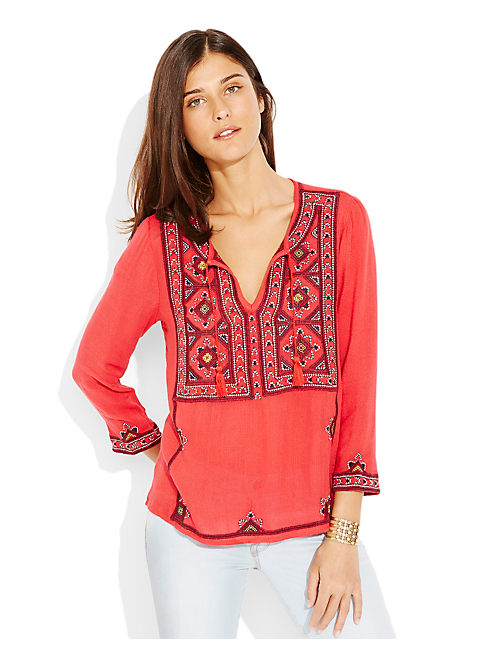 EMBROIDERED GEO TUNIC, RED MULTI