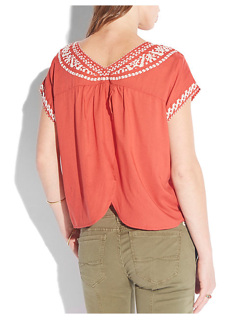 MIRANDA EMBROIDERED TOP, RED MULTI