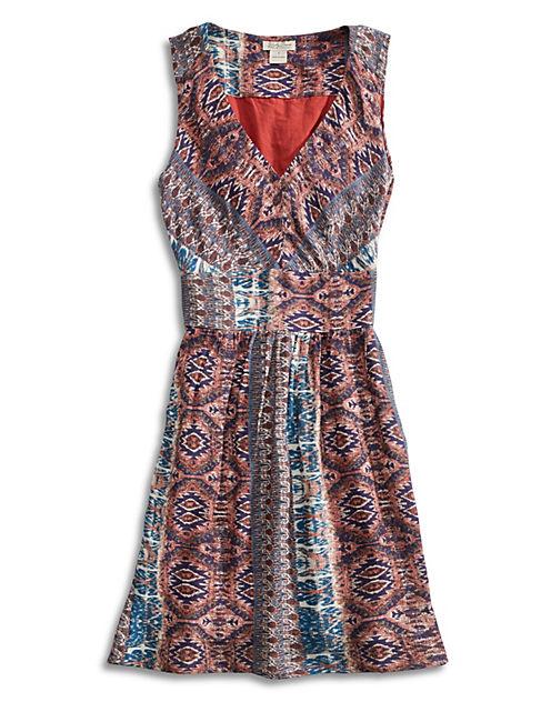 TRIBAL STRIPE DRESS, RED MULTI