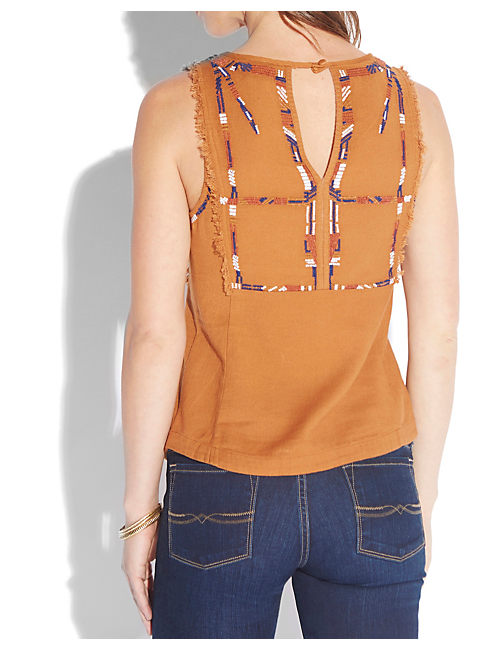 EMBROIDERED FRINGE TANK, BROWN MULTI