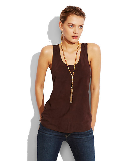 SUEDE TANK, 200 CHOCOLATE