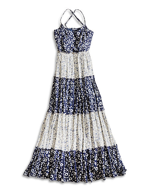 TIERED MAXI, NAVY MULTI