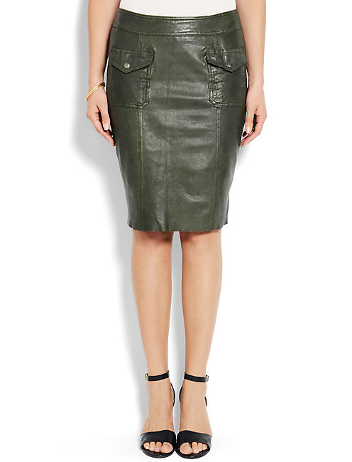 OLIVE LEATHER SKIRT, 387 LODEN
