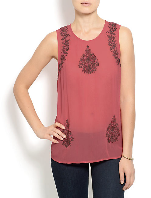 RUBY EMBROIDERED TANK, RED MULTI