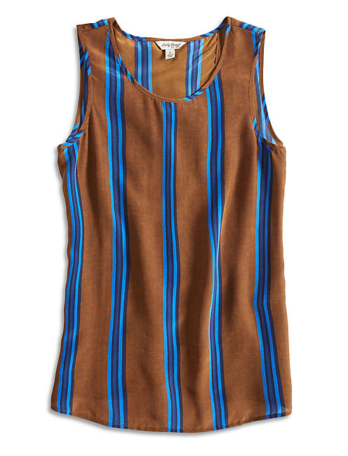 PERMA STRIPE TANK, BLUE MULTI