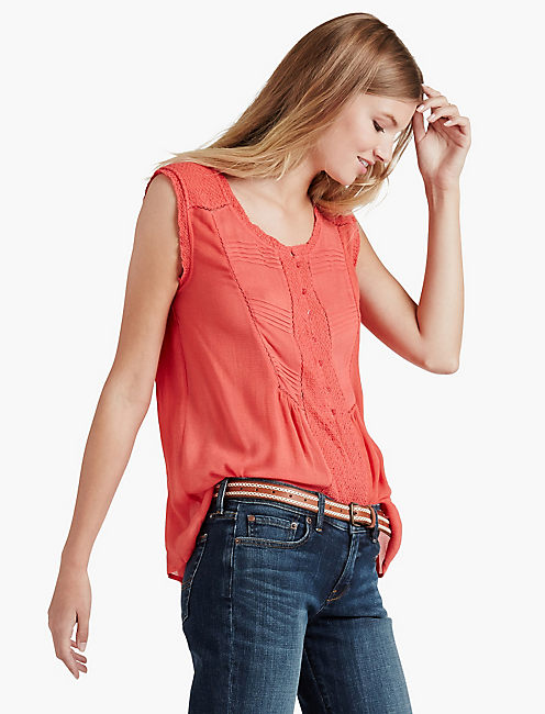 MIXED FABRIC TOP,