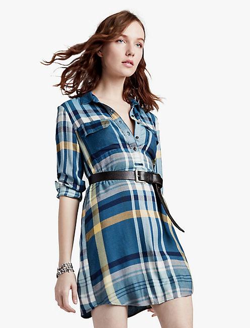 PLAID HENLEY SHIRT DRESS,