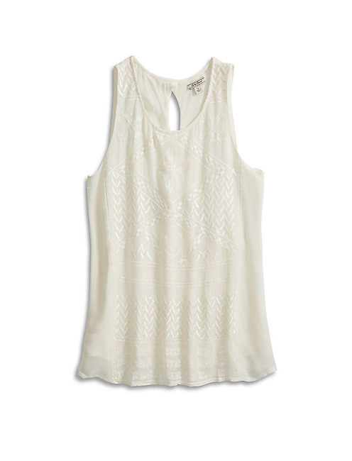 SOLID TANK WITH EMBROIDERY, #2413 NIGORI