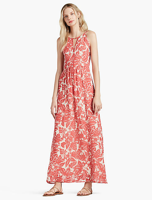 TROPICAL PRINT MAXI DRESS,
