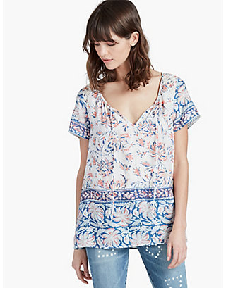 LUCKY PRINTED BORDER  BLOUSE
