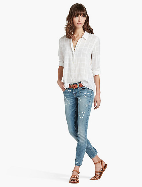 WHITE TEXTURED SHIRT,