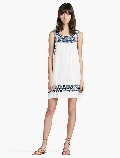 EMBROIDERED DRESS, LUCKY WHITE