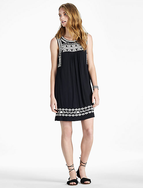 EMBROIDERED DRESS, BLACK MULTI