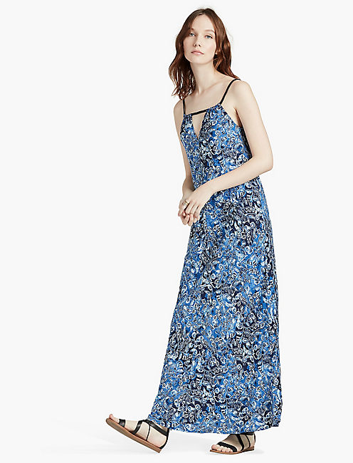 INDIGO FLORAL MAXI DRESS, BLUE MULTI