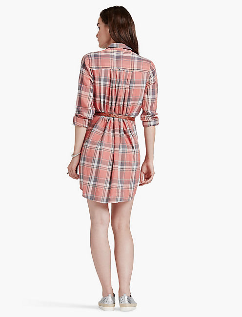 PLAID HENLEY SHIRT DRESS,
