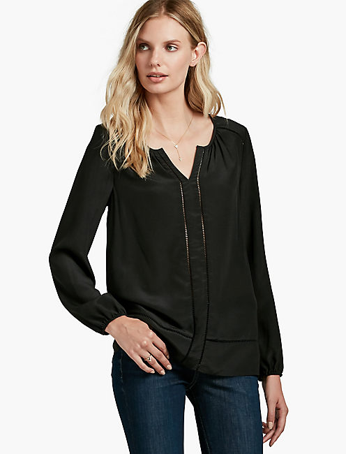SILK BLOUSE, 001 LUCKY BLACK